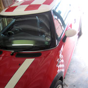 Mini Cooper chequer stripes