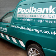 Fleet van lettering and graphics