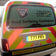 Highway maintenance high visibility stripes