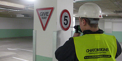 Installing car park signs