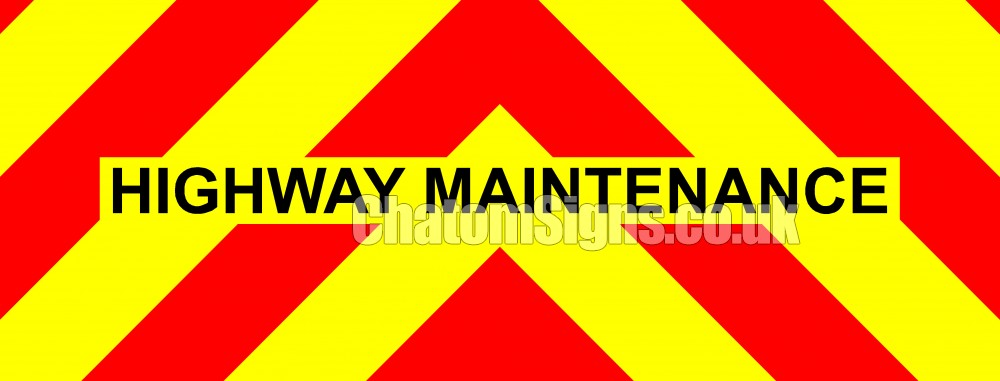 Motorway Maintenance Fluorescent Magnetic Warning Sign