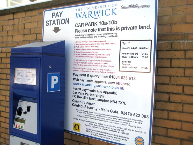 Car Park Tarrif Sign